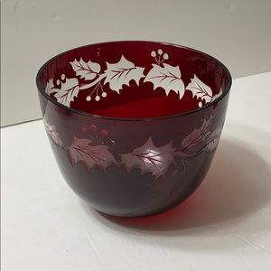 Vintage Teleflora etched glass Ruby Red bowl